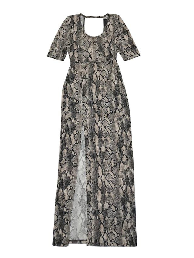 Vestido largo H&M print pitón, con escote en la espalda y abertura en la basta. Largo: 150 cm foto 1