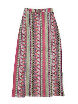 Falda larga Faveron con estampado tribal, elástico posterior en la pretina y aberturas delanteras. foto 1