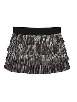 Falda de tela plisada en tiempos, tono gris brillante y pretina elástica negra. Pretina 76 cm, largo: 35 cm foto 1