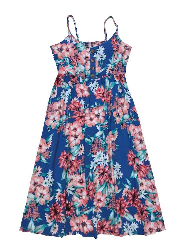 Vestido Index azul con estampado de flores, tela fresca de viscosa, panal de abeja en la espalda, botones en el pecho y corte debajo de busto. Largo desde sisa 88cm. Se le ha cosido una tiritas, ver foto 2. foto 1