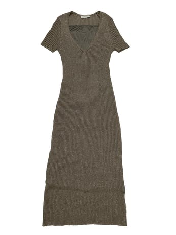 Vestido Zara Maternity (pero no es exclusivo de maternidad) de punto acanalado verde olivo con hilos dorados, lleva forro stretch. Largo 130 cm foto 1