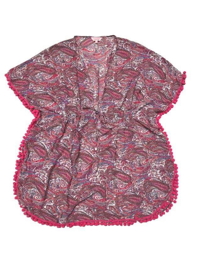 Salida de baño estampado de gasa con borlas fucsia, se amarra a la cintura. Largo 85cm. Nueva foto 1