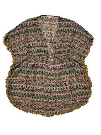 Salida de baño estampado de gasa con borlas amarillas, se amarra a la cintura. Largo 85cm. Nueva foto 1