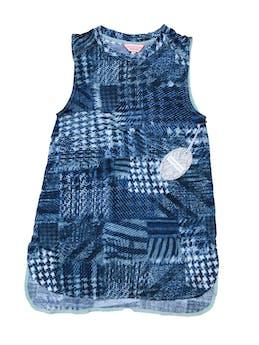 Polo Zanzibar con estampado en tonos azules,  tela tipo algodón con spandex. Largo 63cm. Nuevo con etiqueta foto 1