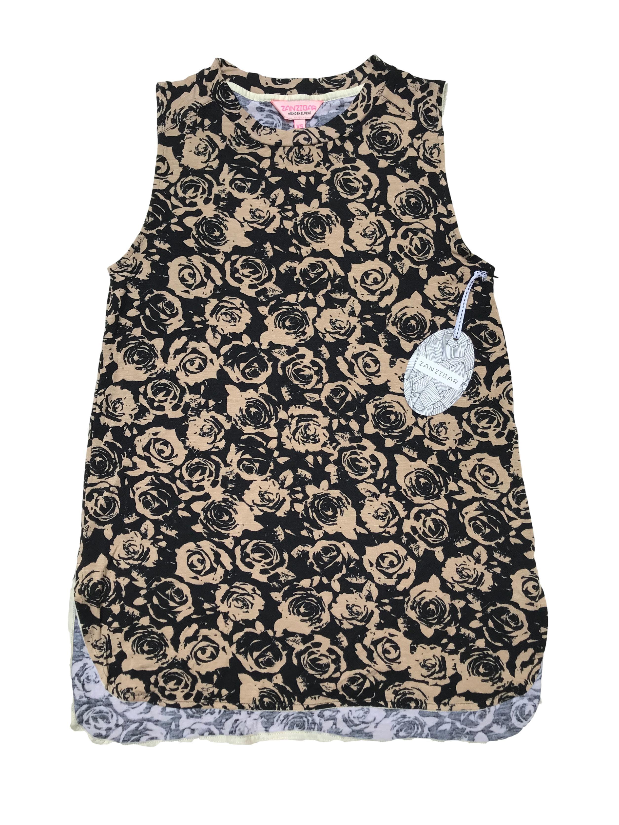 Polo Zanzibar con estampado de flores en negro y camel,  tela tipo algodón con spandex. Largo 63cm. Nuevo con etiqueta