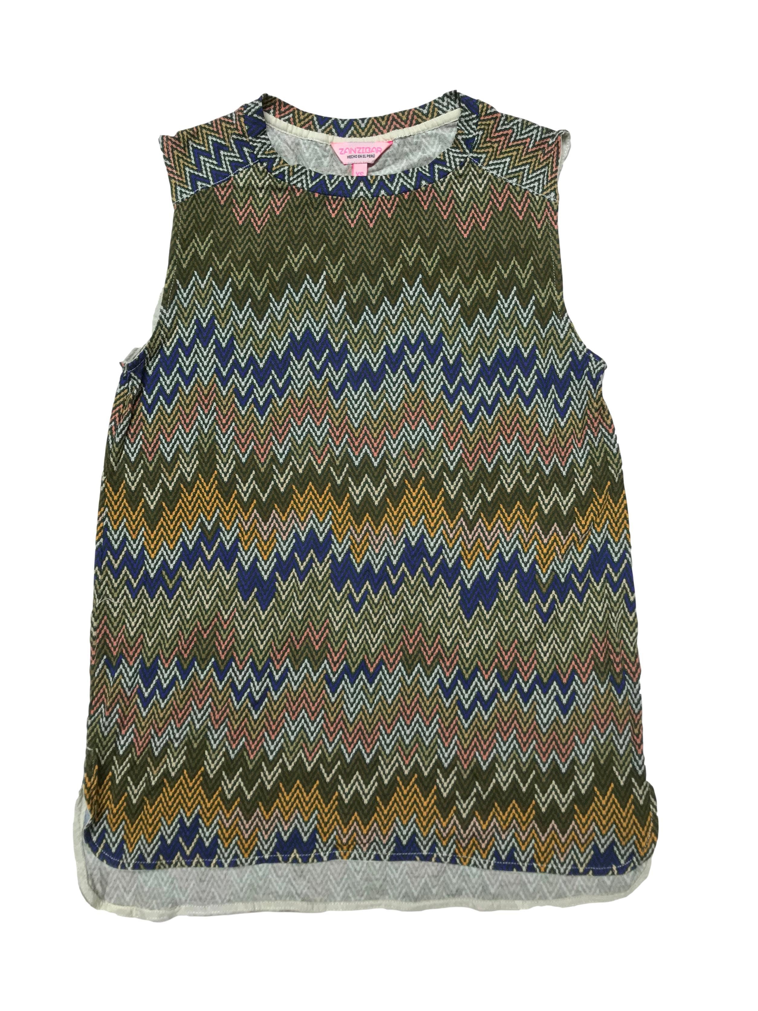 Polo Zanzibar con estampado en zigzag,  tela tipo algodón con spandex. Largo 63cm.