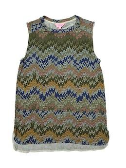 Polo Zanzibar con estampado en zigzag,  tela tipo algodón con spandex. Largo 63cm.  foto 1