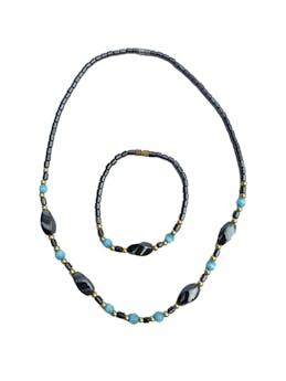 Set collar y pulsera de piedra tipo imán pulido y murano celeste. Largo 46cm foto 1
