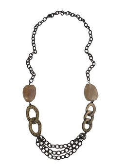 Maxicollar Finart en tono oro viejo, eslabones en dos tamaños y piedras marmoleadas. Largo 45cm foto 1