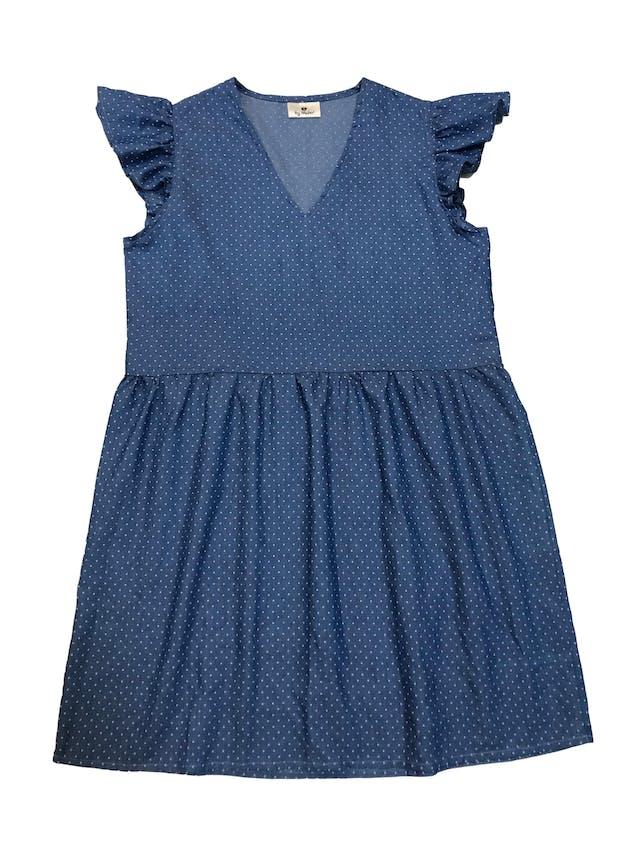 Vestido Ay Mafer de chambray azul con puntos blancos. Busto 94cm Largo 82cm foto 1