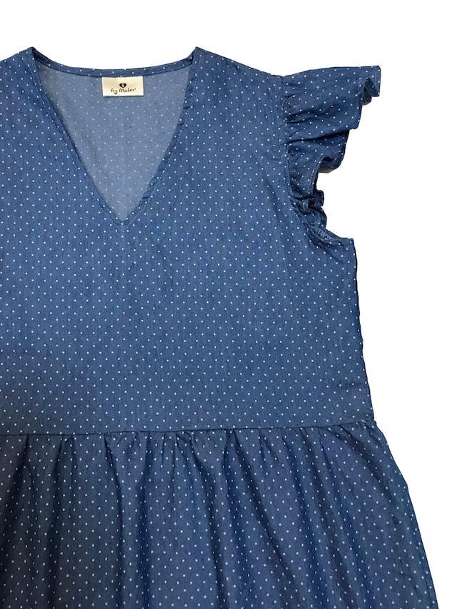 Vestido Ay Mafer de chambray azul con puntos blancos. Busto 94cm Largo 82cm foto 2