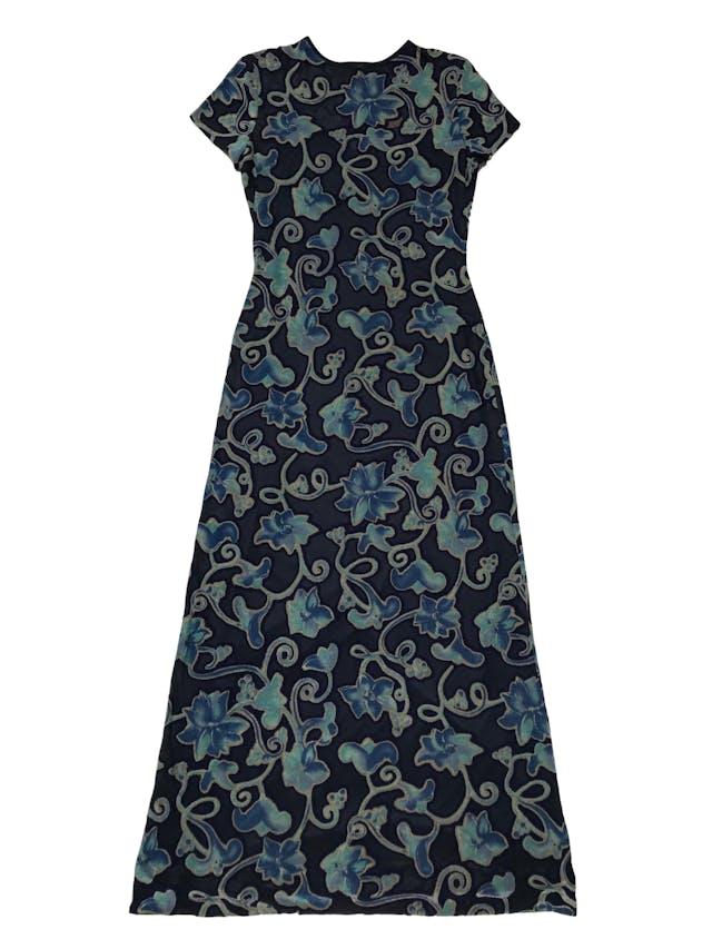 Vestido JSC vintage azul tipo mesh con zonas traslúcidas y zonas estampadas, viene con forro lencero largo. Largo 135cm foto 1