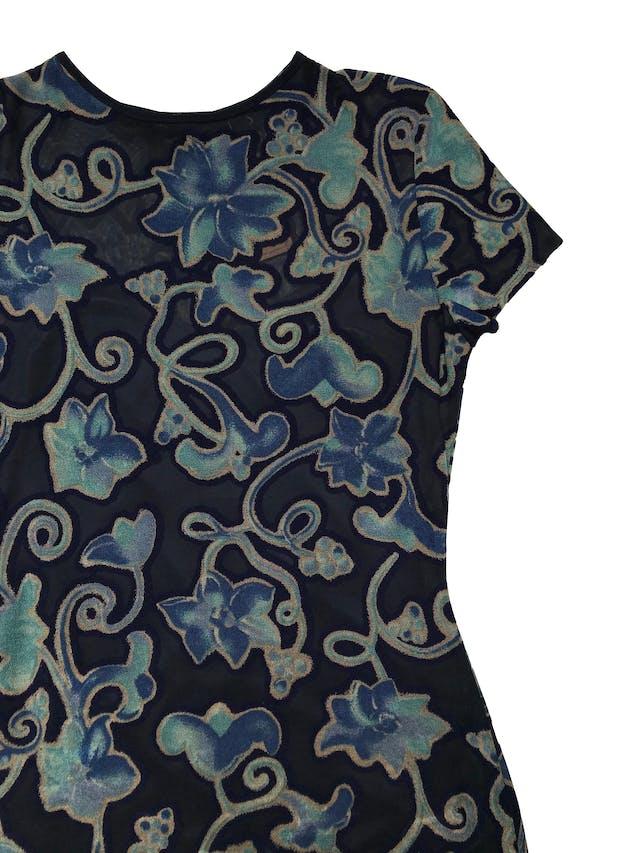 Vestido JSC vintage azul tipo mesh con zonas traslúcidas y zonas estampadas, viene con forro lencero largo. Largo 135cm foto 2