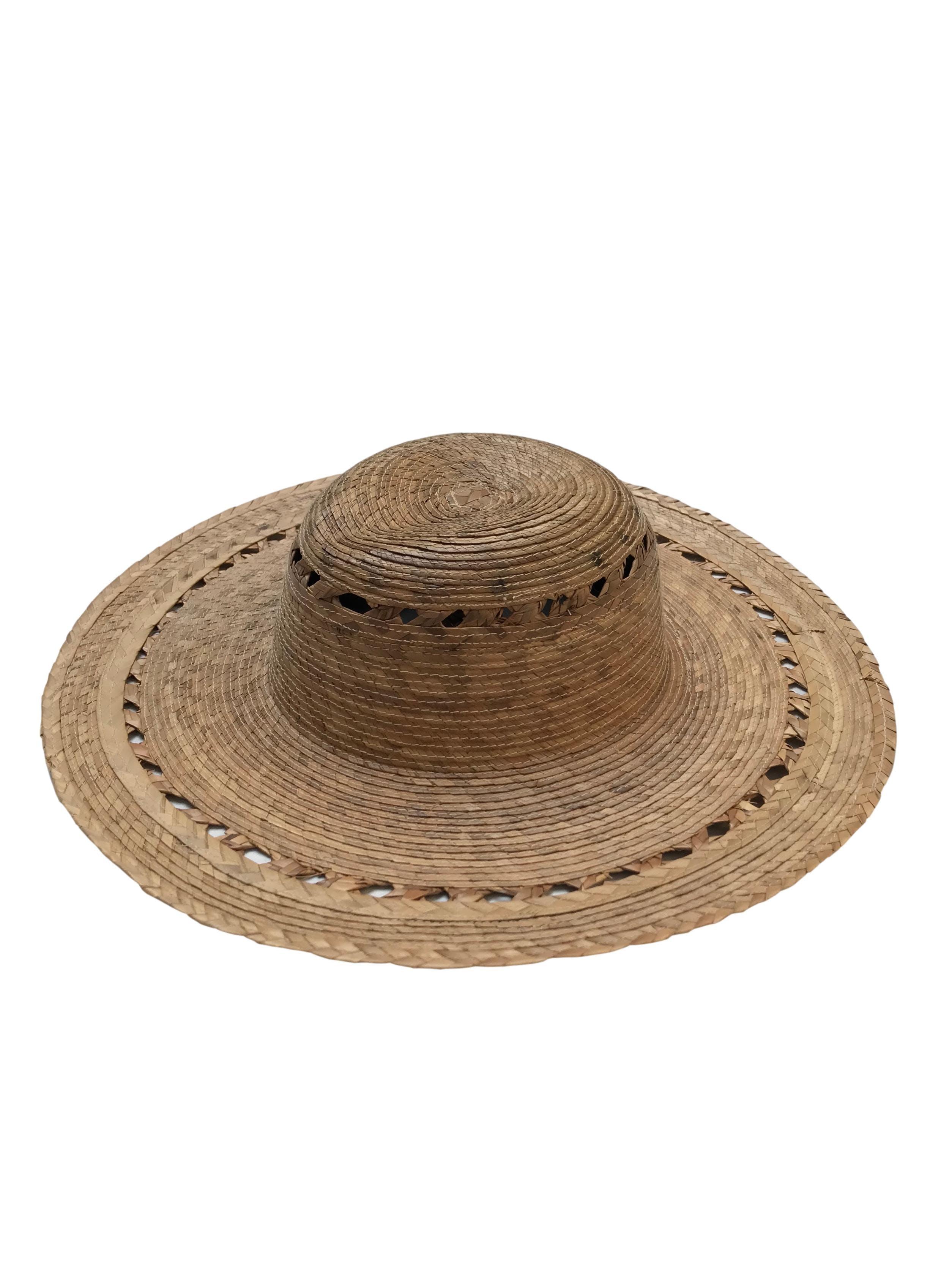 Sombrero de paja de ala ancha. Circunferencia 40cm Cabeza 19cm