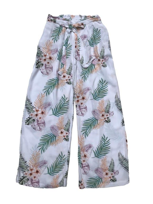 Pantalón a al cintura tipo chalis con cinto para amarrar, pretina elástica atrás, bolsillos laterales y corte recto. Largo 86cm foto 1