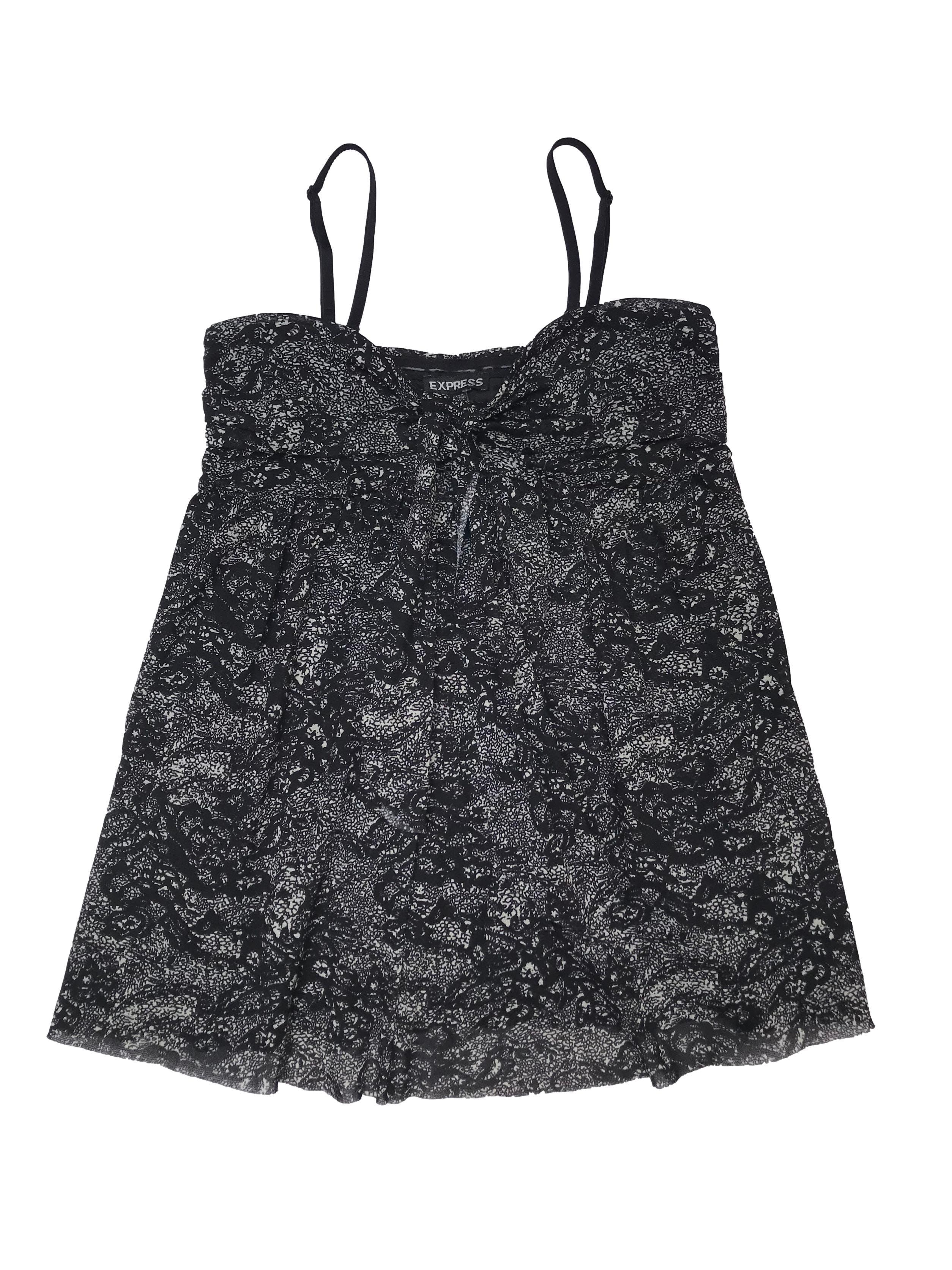 Blusa Express con tiritas removibles, tela tipo tul stretch negro con print crema, lazo en el pecho también removible. Largo desde sisa 50cm