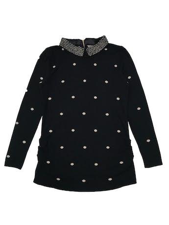 Chompa negra con lunares crema, aplicaciones en el cuello, cierre en la espalda y drapeados laterales. Suave al tacto. Largo 60cm foto 1