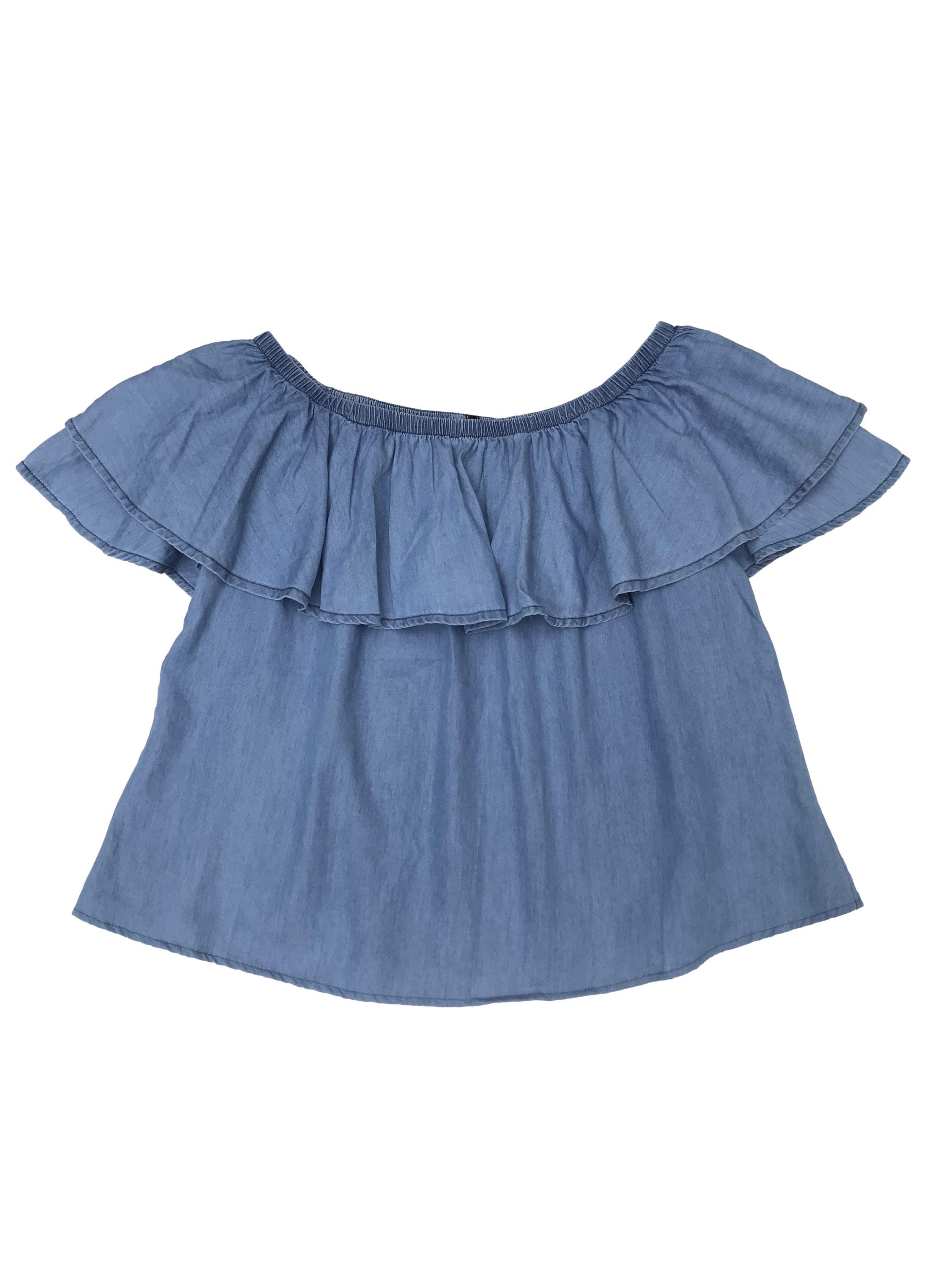Blusa Pionier de algodón y tencel, off shoulder con volante. Largo 42cm