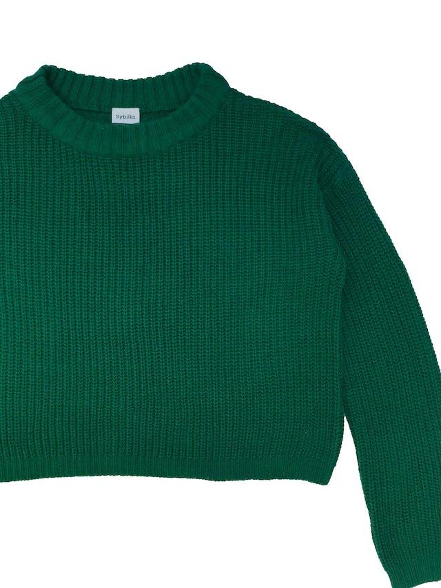 Chompa oversize Sybilla de tejido de punto verde. Largo 50cm foto 2