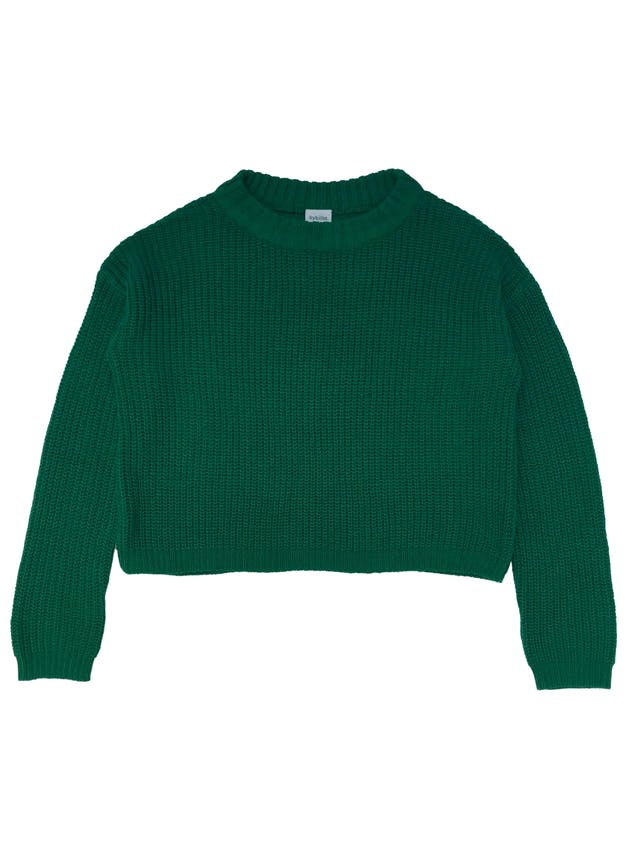 Chompa oversize Sybilla de tejido de punto verde. Largo 50cm foto 1