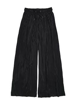 Pantalón negro satinado plisado, tela fluida, corte palazzo, pretina elástica y pasador. Cintura 68cm sin estirar Largo 97cm foto 1