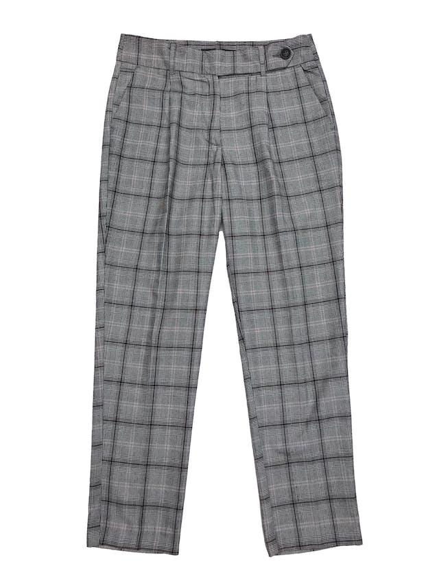 Pantalón príncipe de gales, con pliegues, tela plana, bolsillos laterales y pretina cruzada. Pretina 75cm Largo 92cm foto 1