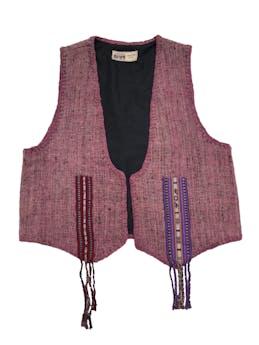 Chaleco moda étnica peruana, forrado. Ancho 104cm Largo 55cm (+10 por flecos) foto 1