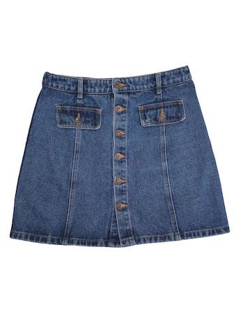 Falda Exit de jean grueso con botones delanteros, 100% algodón. Cintura 72cm Largo 42cm. Precio original S/ 139 foto 1