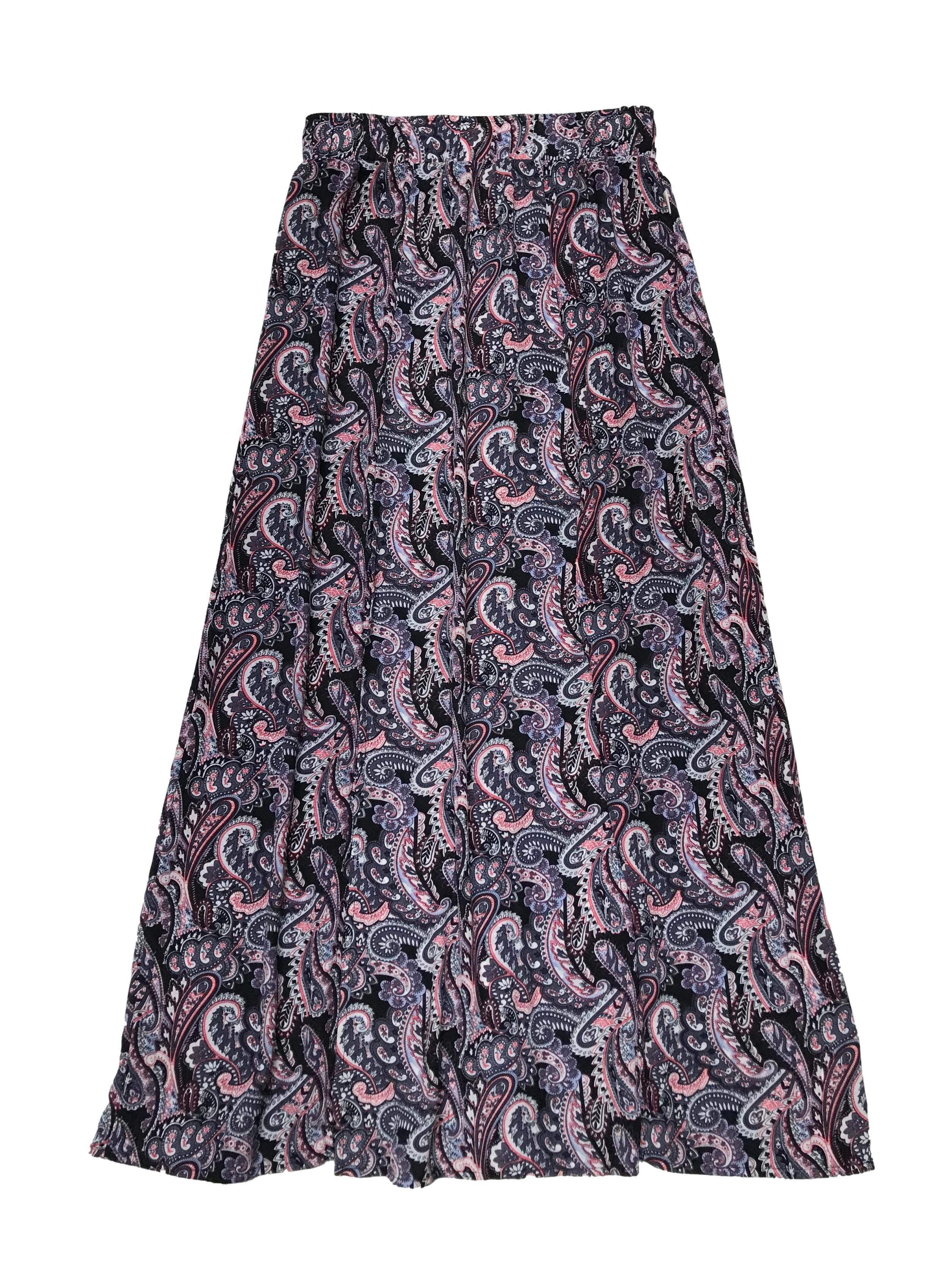 Falda larga Scombro, de gasa con estampado paisley, pretina ancha elástica y dos aberturas delanteras. Cintura 72cm sin estirar Largo 100cm