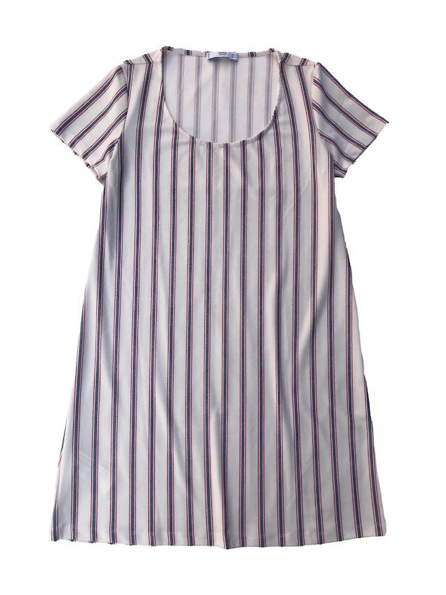 Vestido Mango recto de tela stretch crema con líneas. Busto 92cm Largo 85cm foto 1