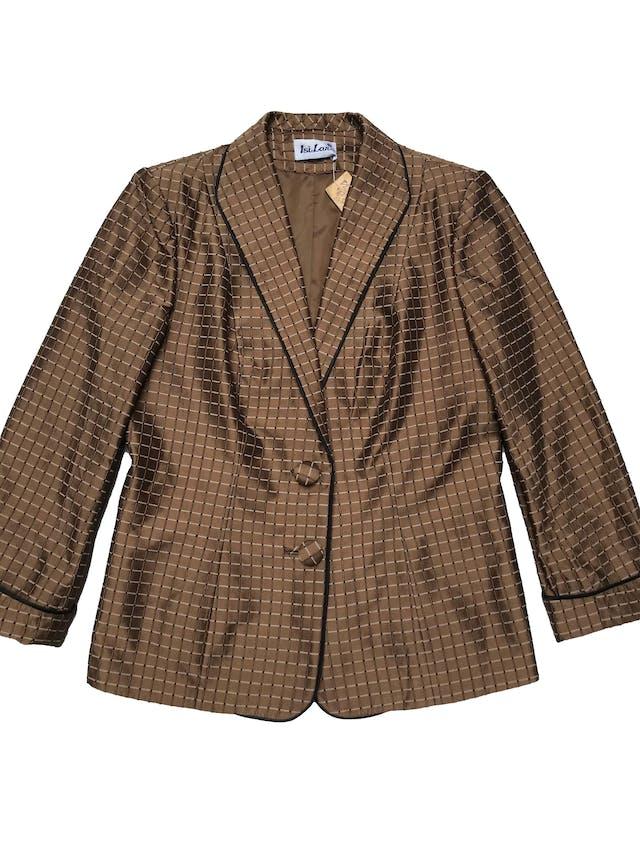 Blazer vintage marrón satinado con textura de cuadros, forrado, manga 7/8 con dobladillo. Busto 110cm Largo 60cm foto 1
