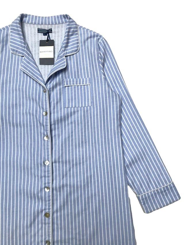 Sleepwear Maritimo 100% algodón franela a rayas celestes y blancas. Nuevo con etiqueta. Busto 108cm Largo 88cm foto 2