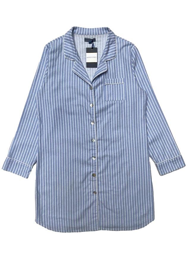 Sleepwear Maritimo 100% algodón franela a rayas celestes y blancas. Nuevo con etiqueta. Busto 108cm Largo 88cm foto 1