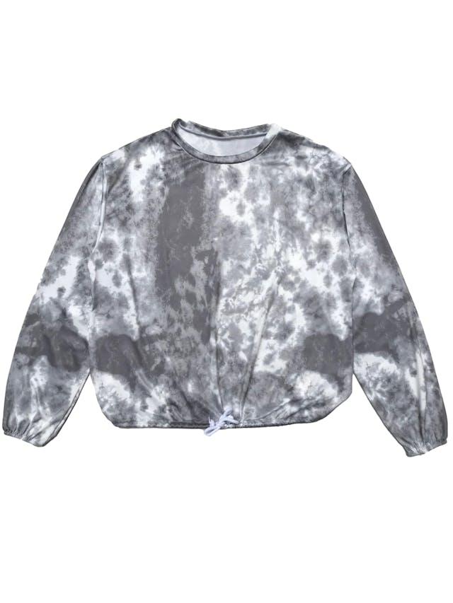 Polo de lycra tie dye blanco y plomo, elástico en los puños y basta regulables. Ancho 105cm Largo 52cm foto 1