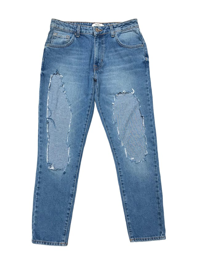 Destroyed jeans Forever21 denim rígido 1005 algodón, corte boyfriend. Pretina 74cm Largo 91cm foto 1