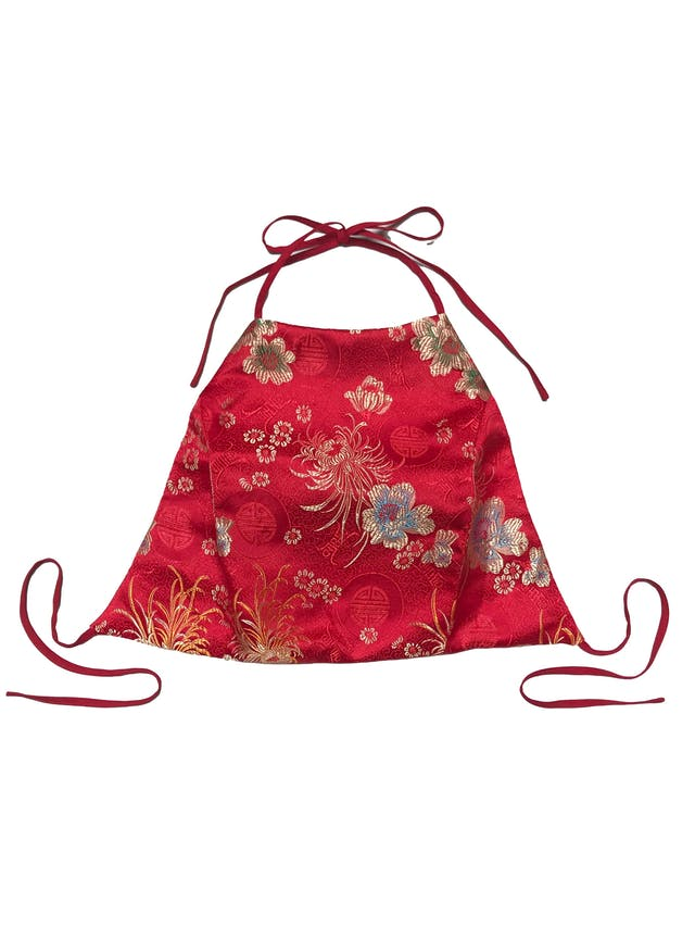 Top Forever21 rojo estilo oriental brocado, forrado, se amarra en el cuello y espalda. Largo 30cm foto 1