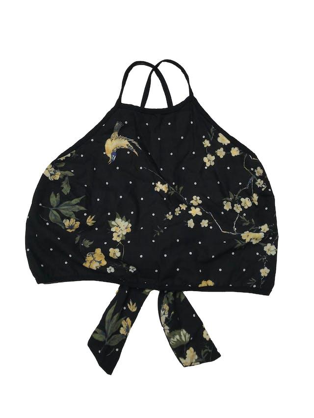 Top Ibella Ama negro con estampado de lunares y flores, tiritas cruzadas y se amarra en la espalda. Precio orignal S/ 80 foto 1