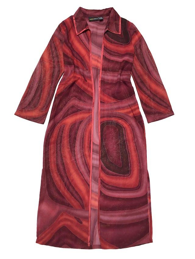 Capa larga vintage, de gasa gruesa en tonos cálidos con efecto escarchado y ribetes rojos, tiene aberturas laterales en la basta. Largo 128cm foto 1