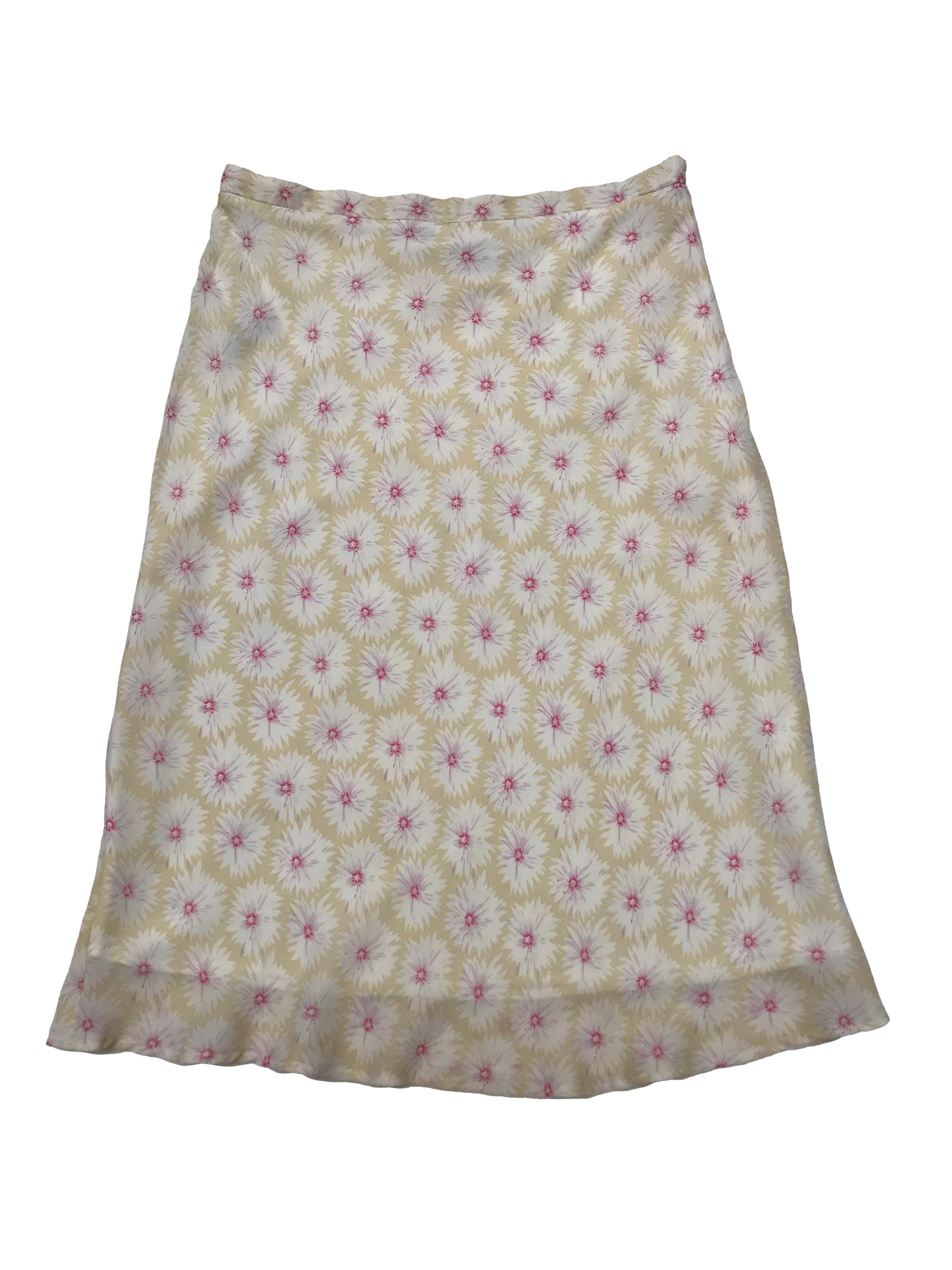 Falda midi Marquis de gasa beige con print de flores, forrada y lleva cierre lateral. Cintura 74cm Largo 70cm