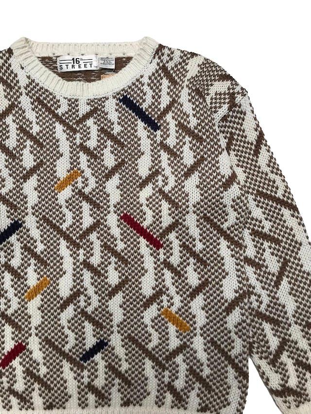 Chompa vintage de tejido grueso marrón y crema con detalles de color. Ancho 104cm Largo 62cm  foto 2