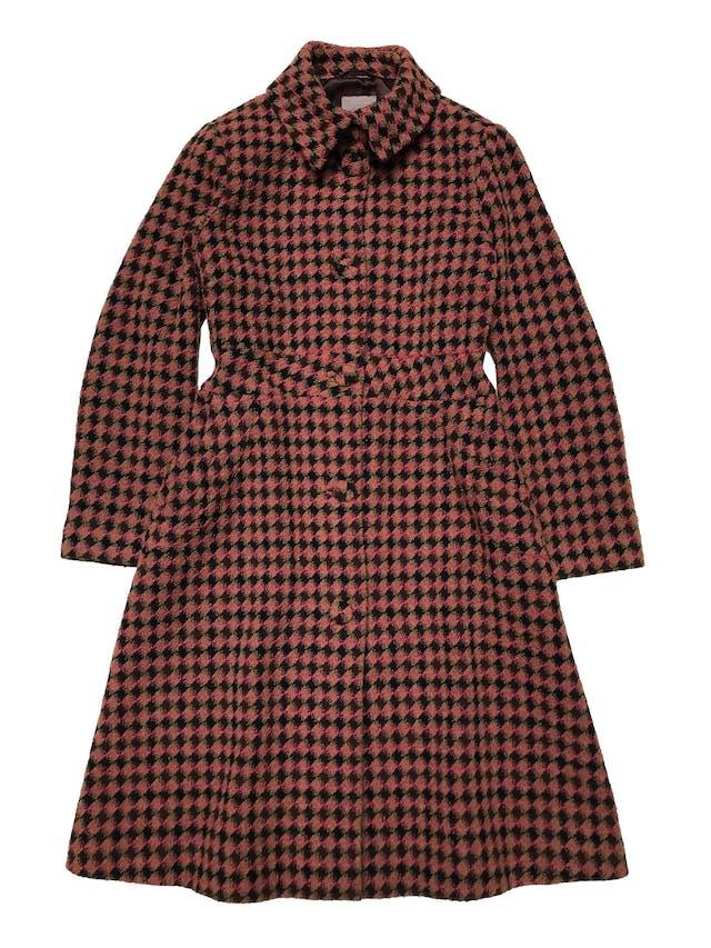 Abrigo largo H&M mezcla de lana, punto pata de gallo, corte princesa, forrado y con bolsillos laterales. Busto 110cm Largo 105cm foto 1