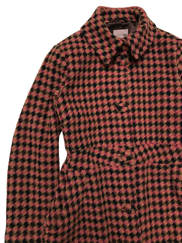 Abrigo largo H&M mezcla de lana, punto pata de gallo, corte princesa, forrado y con bolsillos laterales. Busto 110cm Largo 105cm foto 2
