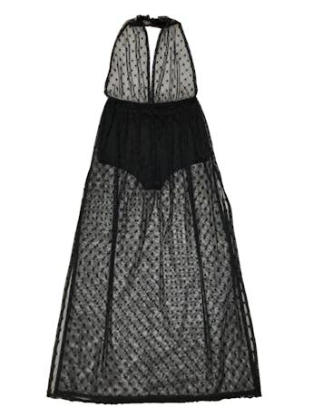 Vestido largo Forever21 de mesh negro con estrellas, cuello halter, forro short stretch y aberturas laterales en la falda. Tiene un huequito de 0.5cm en la pierna que pasa desapercibido (ver foto 3). Largo desde cintura 105cm foto 1