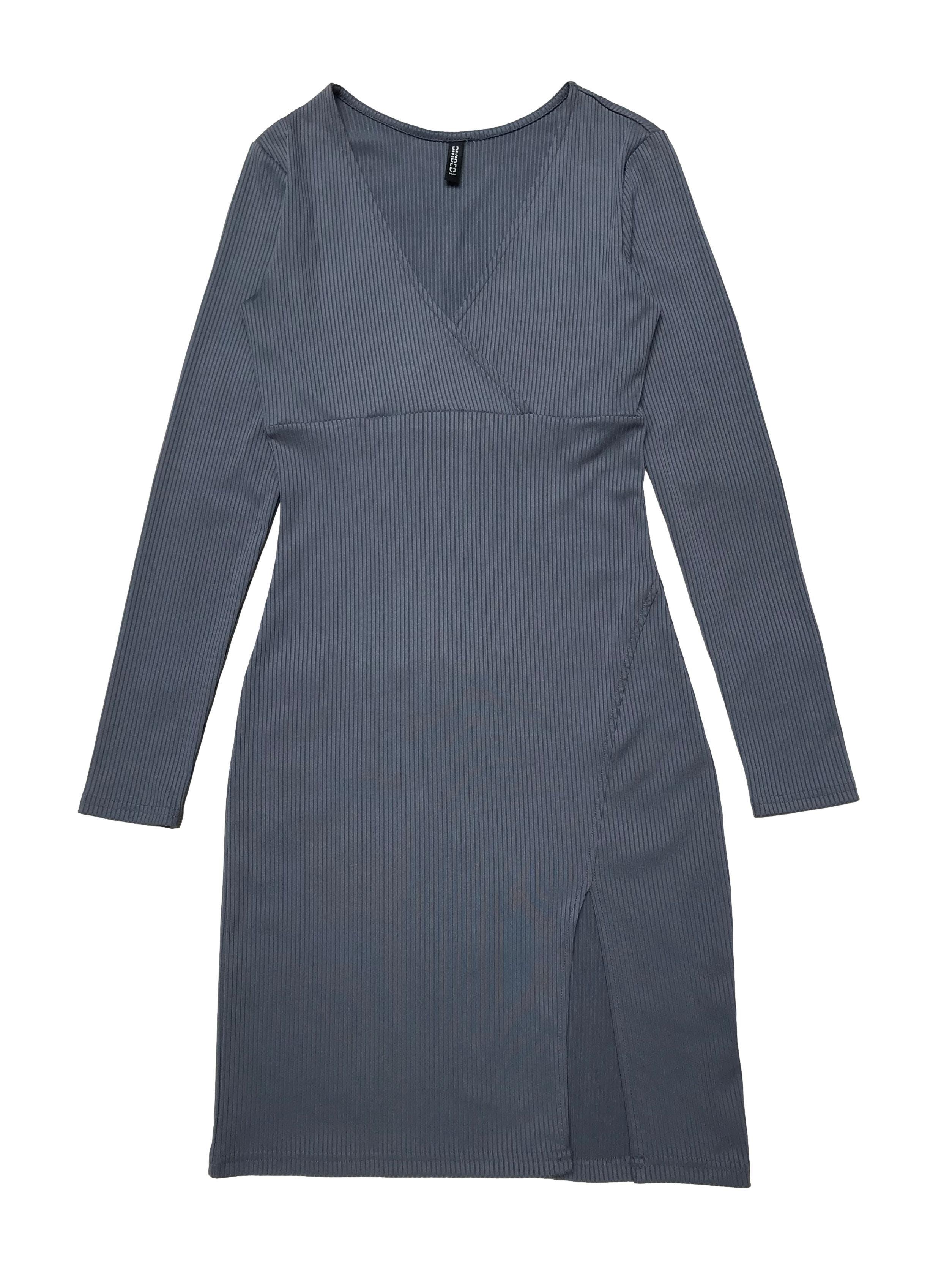 Vestido H&M manga larga stretch, textura acanalada y escote cruzado. Largo 90cm