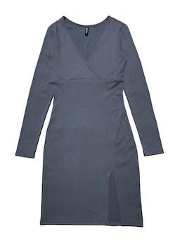Vestido H&M manga larga stretch, textura acanalada y escote cruzado. Largo 90cm foto 1