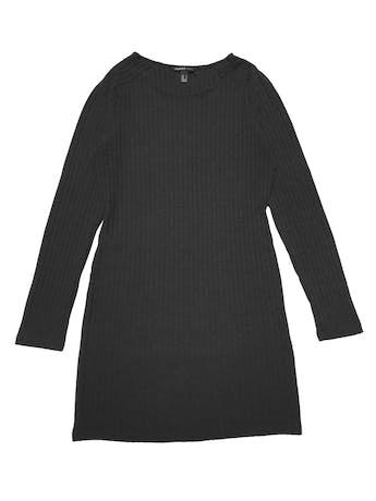 Vestido Mango gris, manga larga, de punto con textura acanalada. Largo 75cm foto 1
