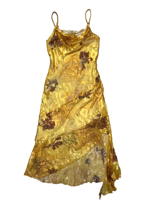Vestido Bibiq de gasa amarilla con texturas en relieve y estampado floral, basta asimétrica. Largo desde sisa 65 - 95cm foto 1