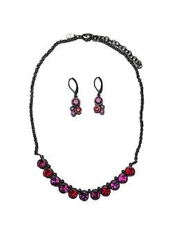 Set gargantilla y aretes, con aplicaciones tipo diamante. Largo collar 36 - 42cm Largo aretes 2.5cm. Precio original S/ 117 foto 1