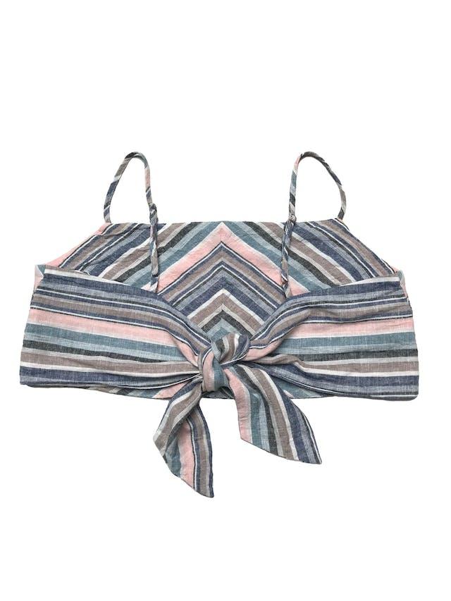 Top Index en franjas diagonales, tela tipo lino forrada, con tiritas regulables y se amarra en la espalda. Largo 23cm foto 2