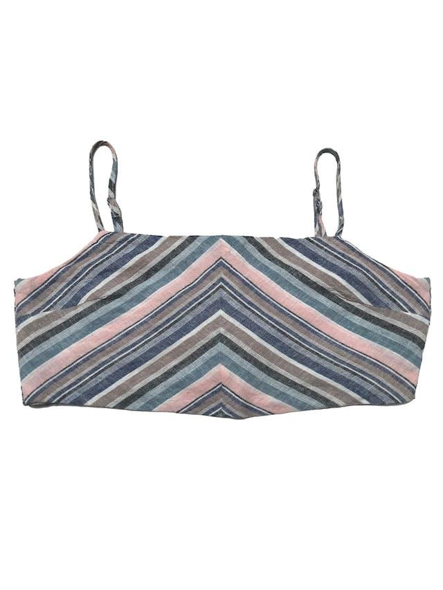 Top Index en franjas diagonales, tela tipo lino forrada, con tiritas regulables y se amarra en la espalda. Largo 23cm foto 1